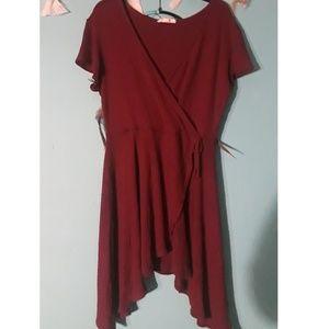 Asymmetrical Skater Wrap Dress